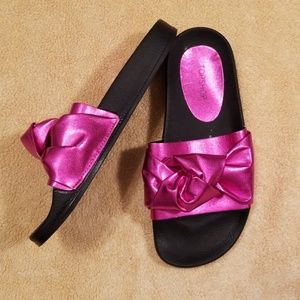Topshop Bright Pink Halo Bow Slide Sandals in 8